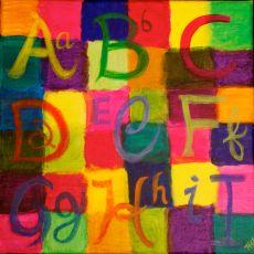 """""""ABC's Triptik Part 1"""" Acrylic 12x12"""""""