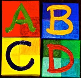 """ABCD"" Acrylic, Set of 4 pieces 6x6"" each"