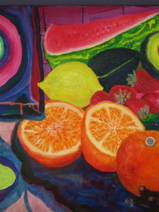 "Still Life of Fruit (30""x36"") Detail, Acrylic"