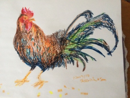 """Chicken Scratches"" Felt Pen Sketch (12 x16"")"