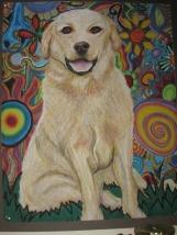 "Yellow Dog in La La Land, Oil Pastel (20x24"")"