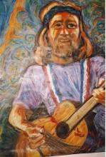 oil pastel portrait on butchers paper