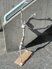 """Stick Figure"" Paper Mache In progress .passages 030"