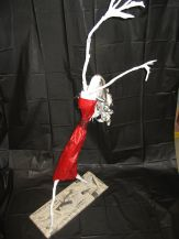 """Stick Figure"" Paper Mache passages o7 and silk scarves 040"