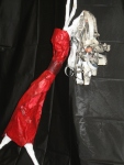 """Detail """"Stick Figure"""" Paper Mache passages o7 and silk scarves 045"""