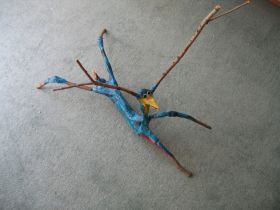 """Stick Creature""Paper Mache .passages o7 and silk scarves 064"