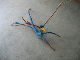 """""""Stick Creature""""Paper Mache .passages o7 and silk scarves 064"""