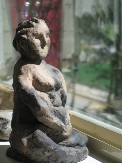 """Pit Fired Clay Figure 8"""" H"""