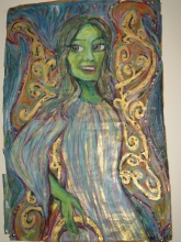 """""""Fairy Godmother, Halo in Hand"""", Multimedia on butchers paper (24x36"""")("""