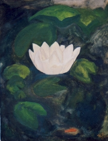 """Live like the Lotus, at home in the muddy water"""" Acrylic (16x20"""")"""