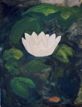 "Live like the Lotus, at home in the muddy water"" Acrylic (16x20"")"