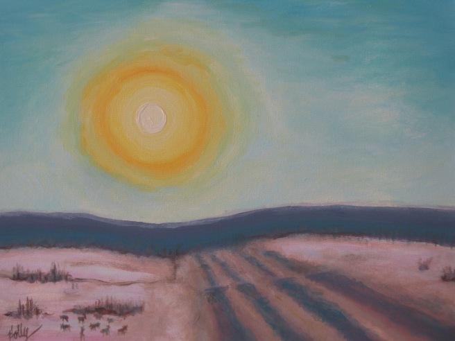 "summer 2006 147 ""winter highway"" acrylic 14x18"""